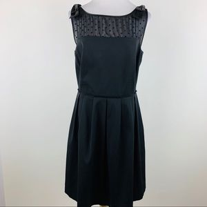 Tahari black sheer Swiss dot bow detail dress 14P